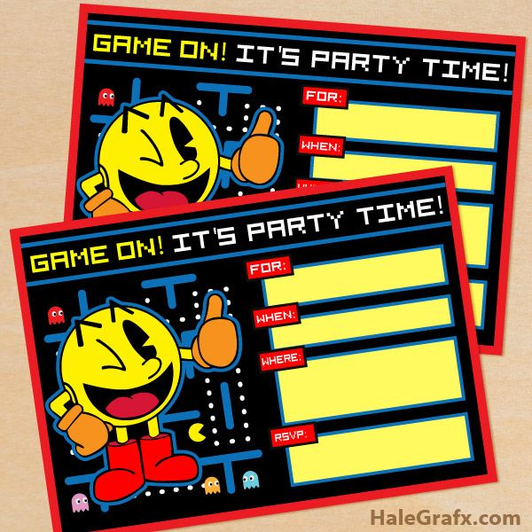 FREE Printable Retro Pac Man Birthday Invitation Party 80s Video