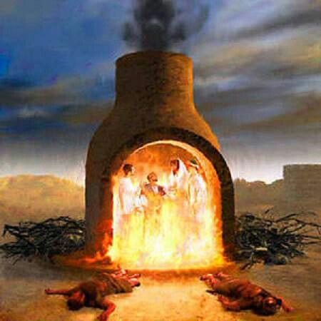The 3 Hebrews, Shadrach, Meshach and Abednego thrown into ...