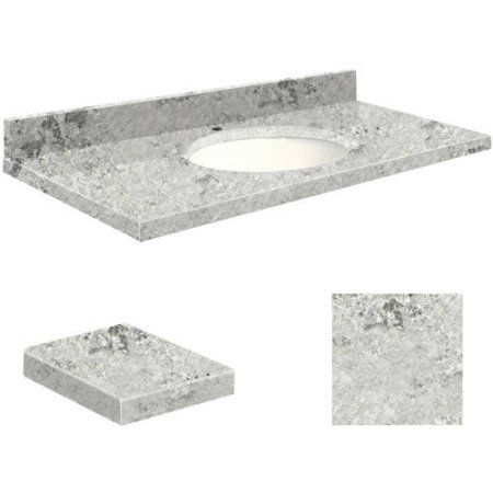 Transolid Quartz 25 inch x 22 inch Bathroom Vanity Top with Eased Edge, Single Faucet Hole and White Bowl, Available in Various Colors