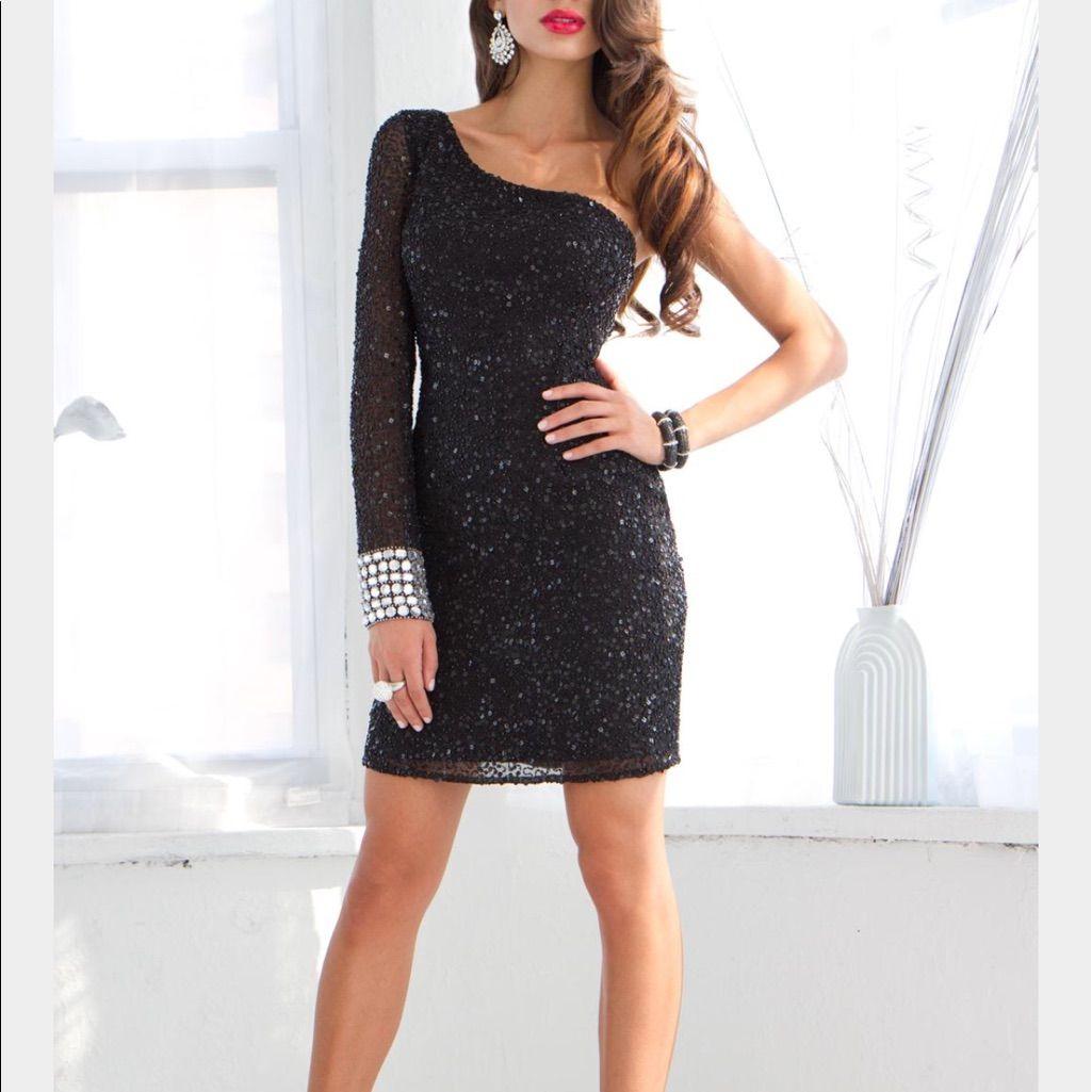 One shoulder black sequin mini sequin dress products