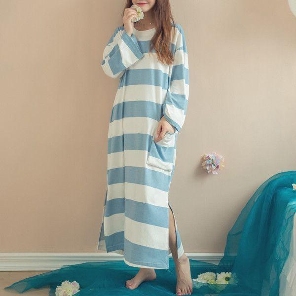 e8246f53dd Spring Autumn Women Nightgowns Sleepdress Casual Long Sleeve Striped Cotton  Breathable Pockets Side Solit Loose Sleepwear