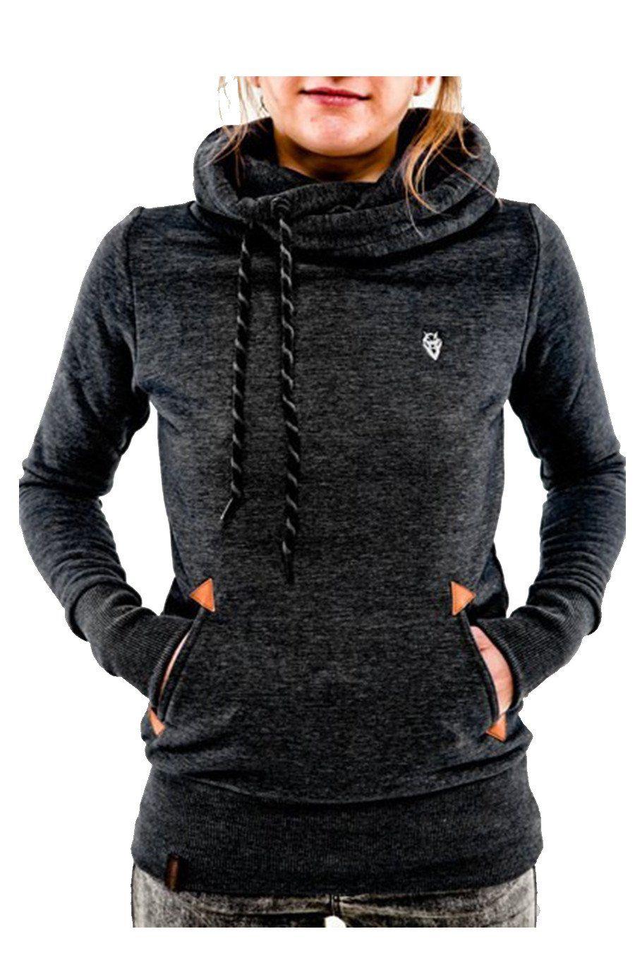 Black Hooded Long Sleeve Turtleneck Sweater