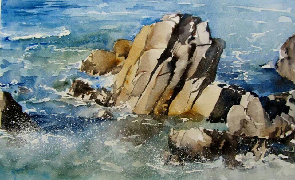 Watercolor Painting Landscape Ocean Waves Rocks Landscape