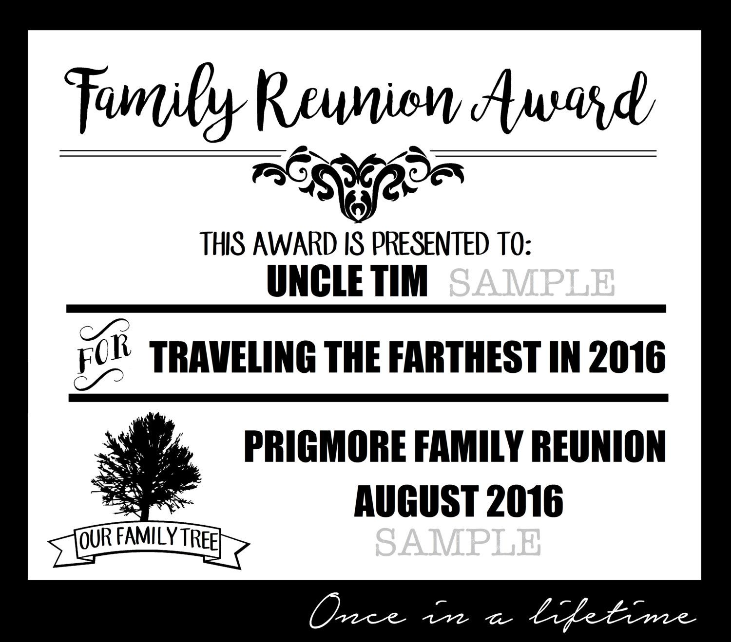 Digital Family Reunion Award pdf files EDITABLE Instant
