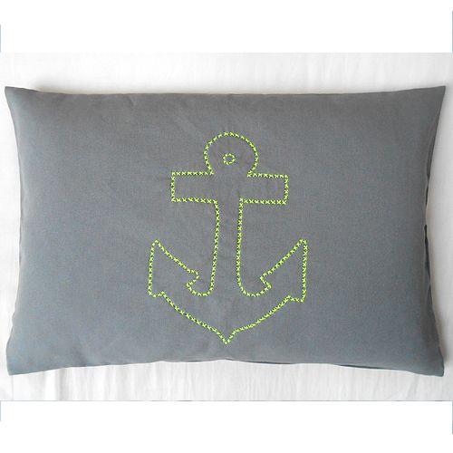 Kissen Anker Neongelb Grau 40x60 Handgestickt Herr Fuchs Pillow