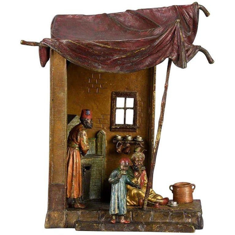 Franz Bergmann Figurative Sculpture Cold Painted Arab Coffee