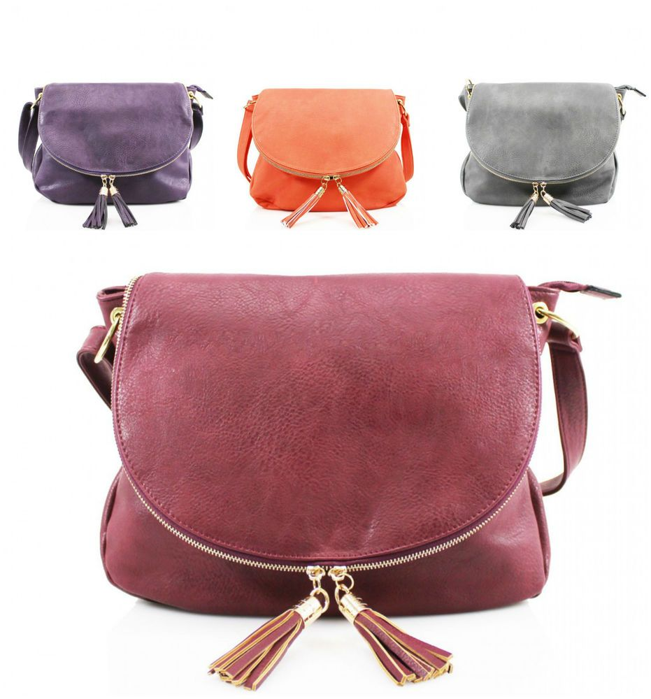 bb541b651f6fb Round Zipped Tassel Style Ladies Girls Cross Body Shoulder Bag Women Hand  Bag