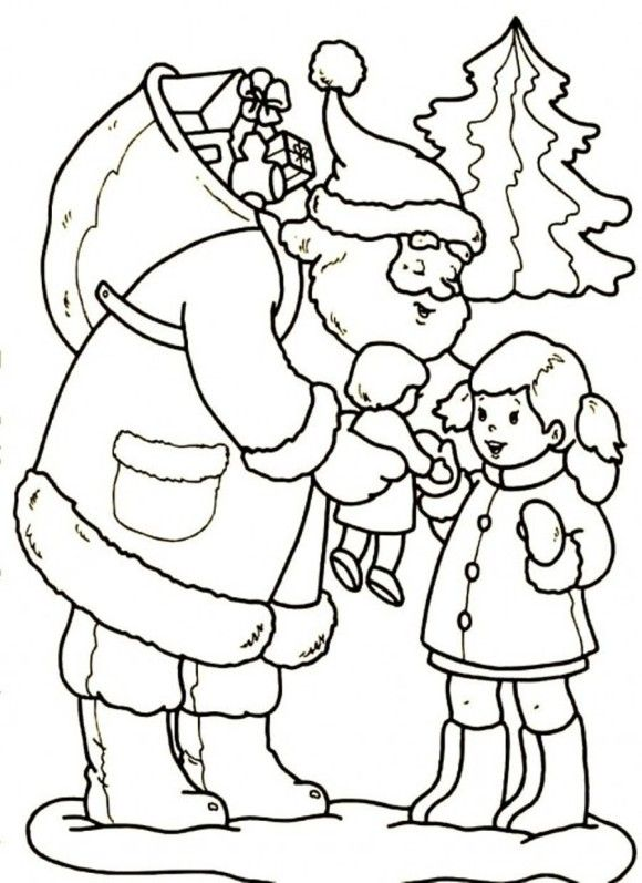 Santa Gives A Girl Beautiful Doll Christmas Coloring Page ...