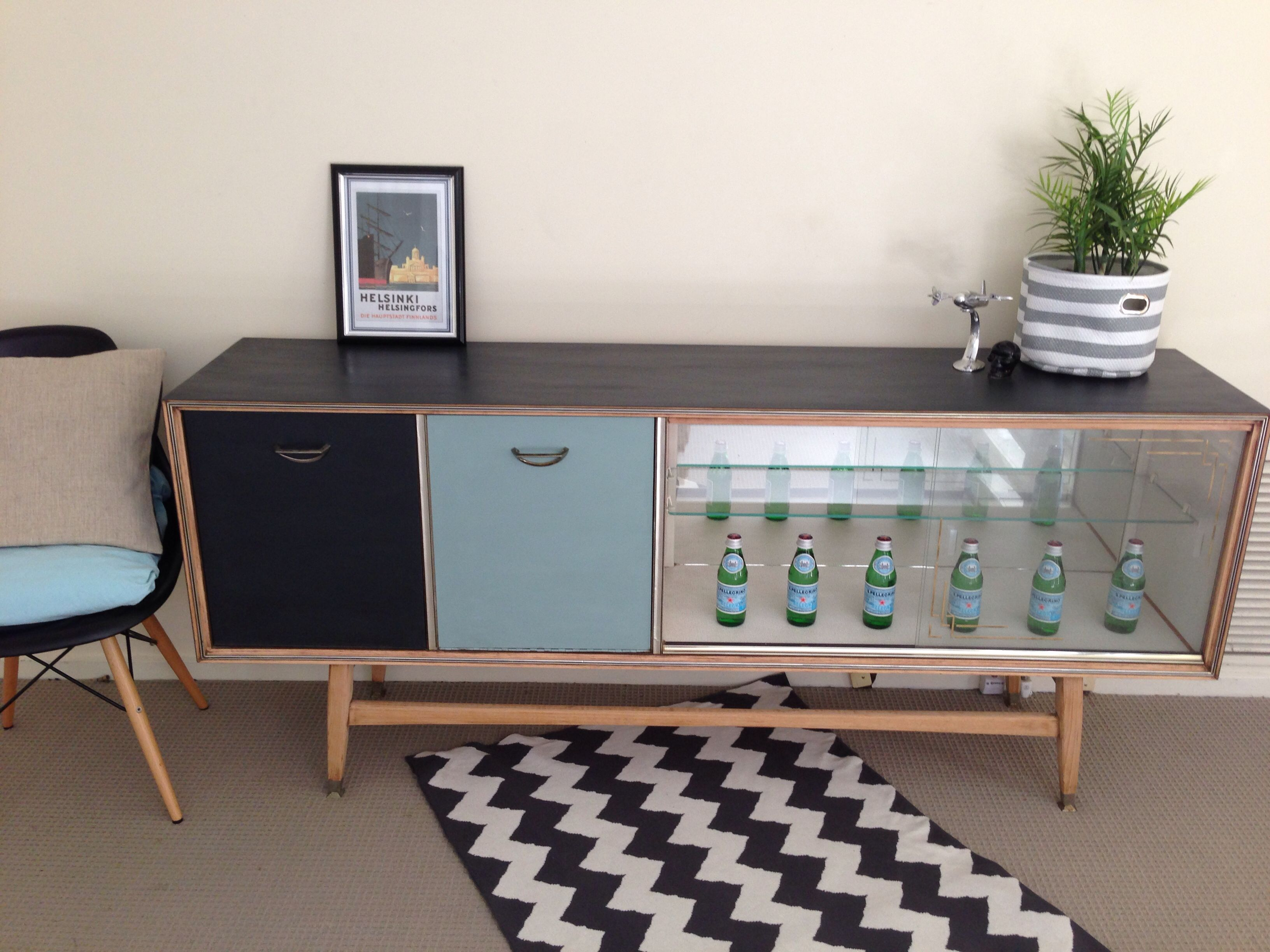 Upcycled Painted Retro Sideboard Black Duck Egg Blue Blonde Wood Cheveron Rug Living