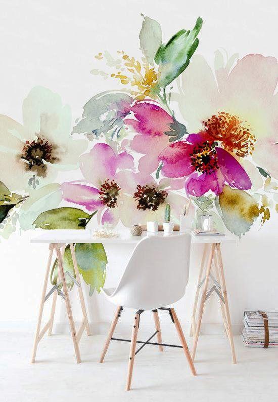 Watercolor Flowers Self Adhesive Mural Floral Wallpaper Etsy Nursery Mural Wall Decor Floral Wallpaper