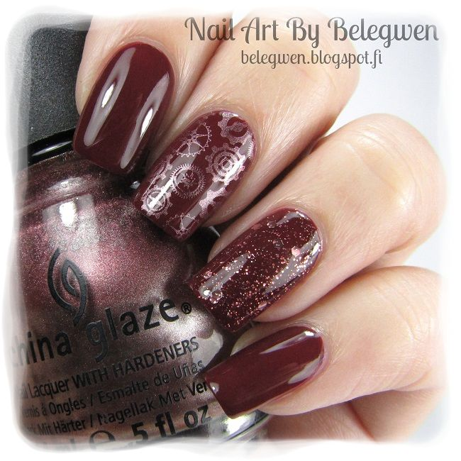Nail Art by Belegwen: Lumene Farewells and Essence Time For Romance. Stamps are from BM-415 and stamping polish is China Glaze Delight.