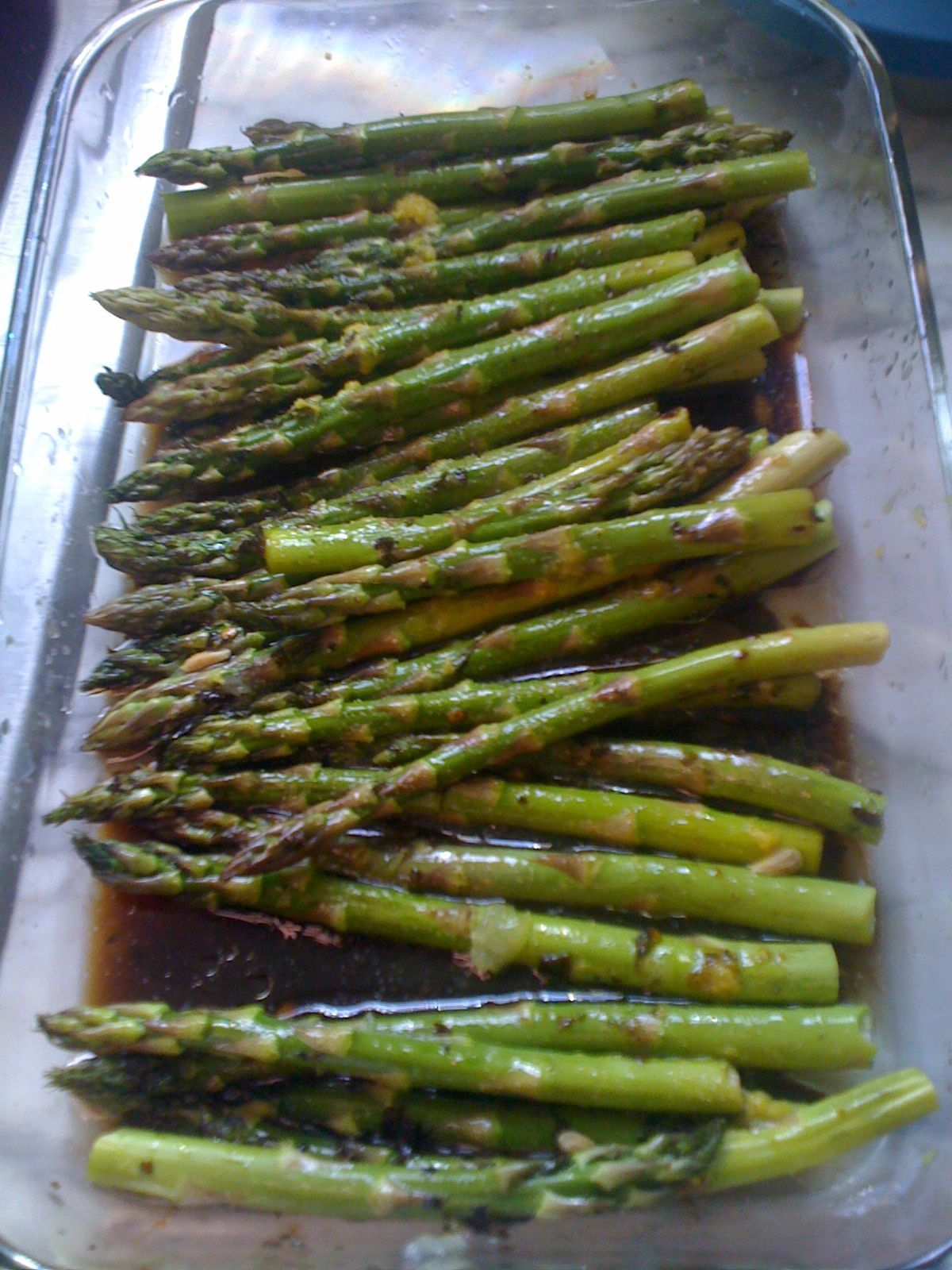 Baked Asparagus - Toss 1 bunch of trimmed asparagus with olive oil. Add the juice and zest if 2 lemons. Sprinkle with garlic powder, salt and pepper. Bake for 15-20 minutes. Asparagus should be slightly crunchy when done.