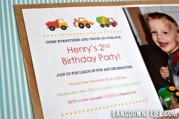 Construction Themed Birthday Party Invitation And Some Other Ideas