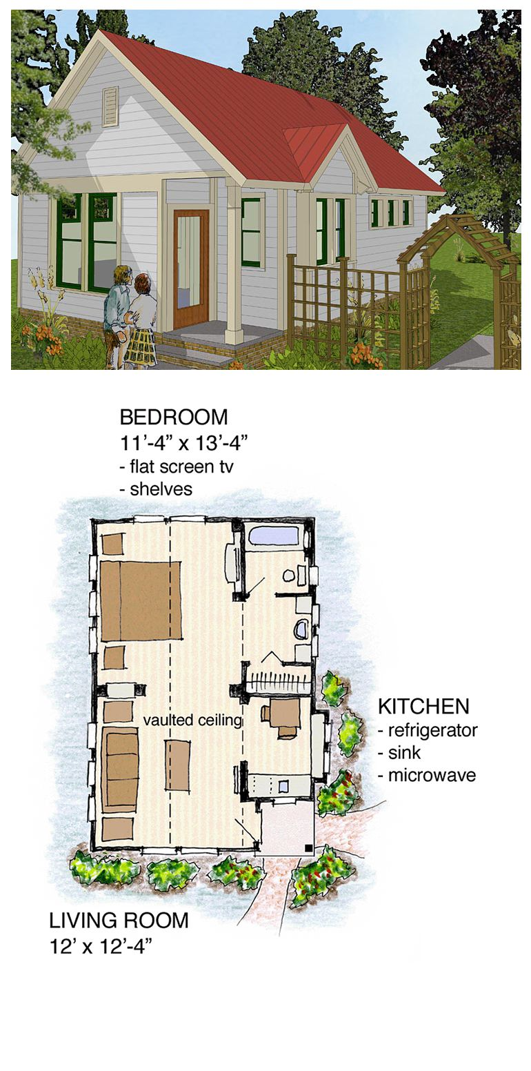 Bungalow cabin cottage traditional house plan 56581 for Bungalow house plans for narrow lots