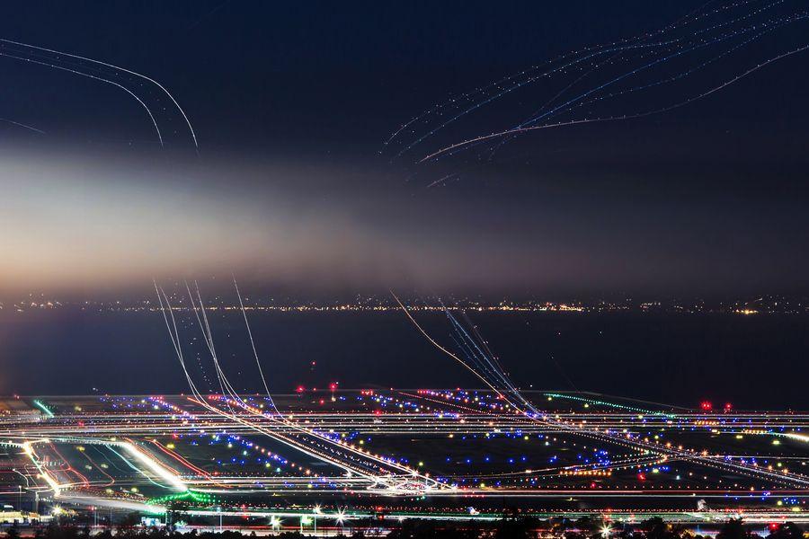 Sfo Busy Airplanes At Night By Kp Tripathi San Francisco