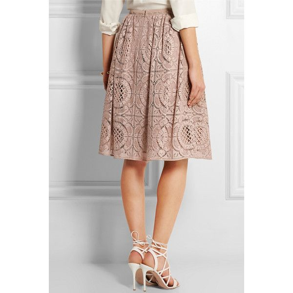 Burberry London Cotton-blend lace skirt (€990) ❤ liked on Polyvore featuring skirts, beige, lace skirt, beige skirt, burberry skirt, lacy skirt and knee length pleated skirt