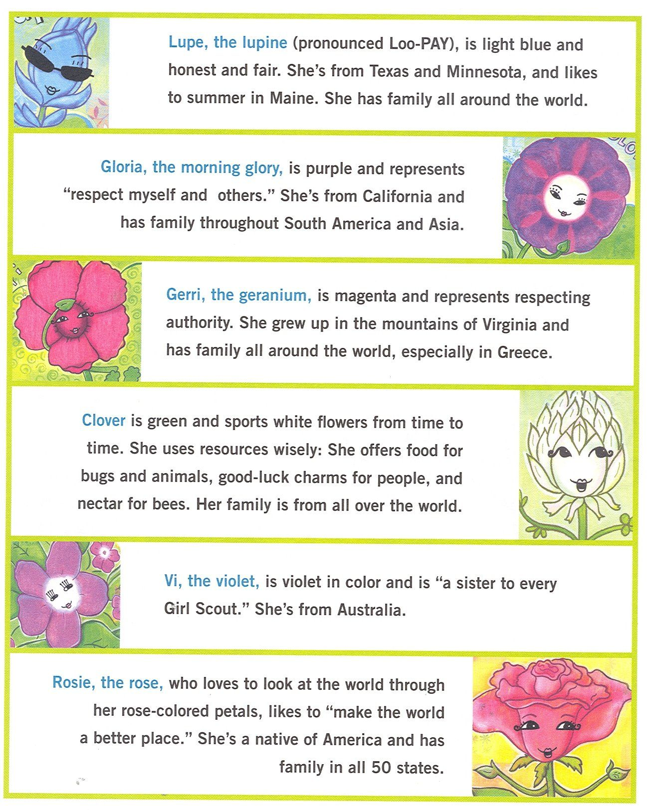 6 of Amazing Daisy\'s Flower Friends. Each one is represented in the ...