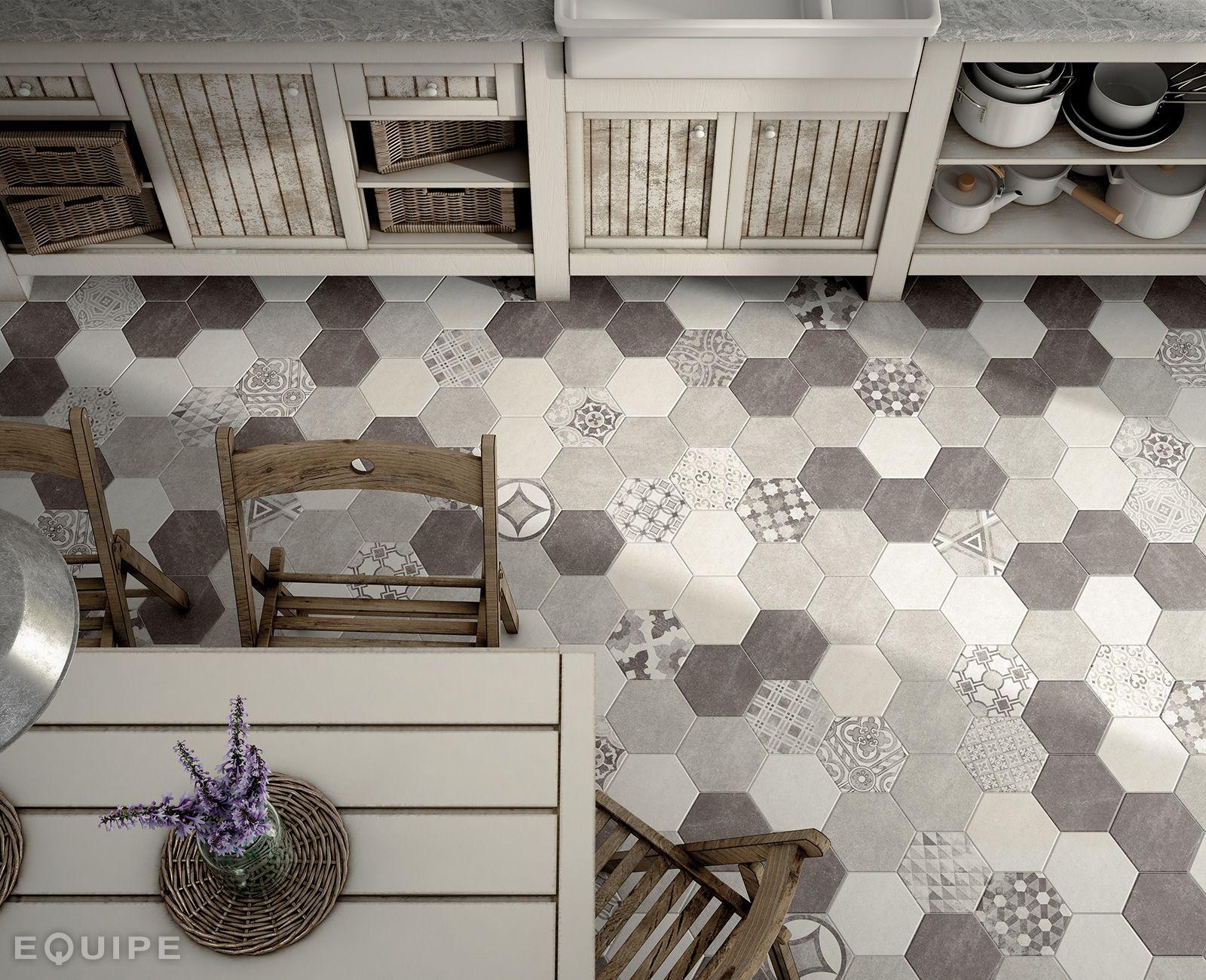 Captivating Hexatile Cement White, Grey, Black / Deco Garden Grey