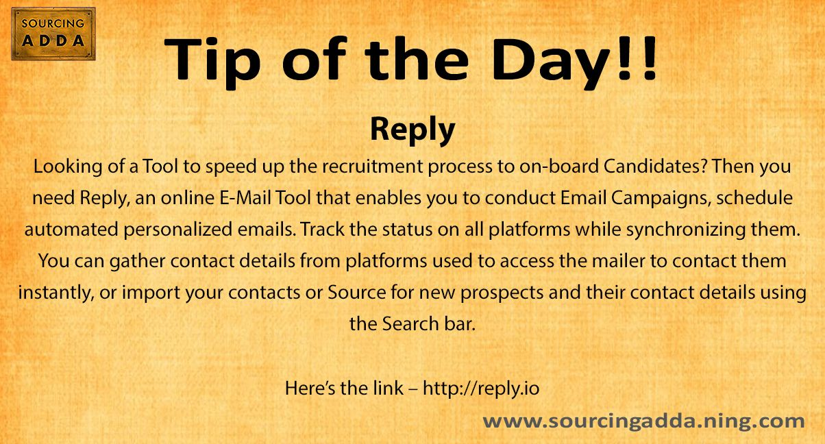 Sourcingtip Today\u0027s tip of the day!   runreplyio #Sourcing