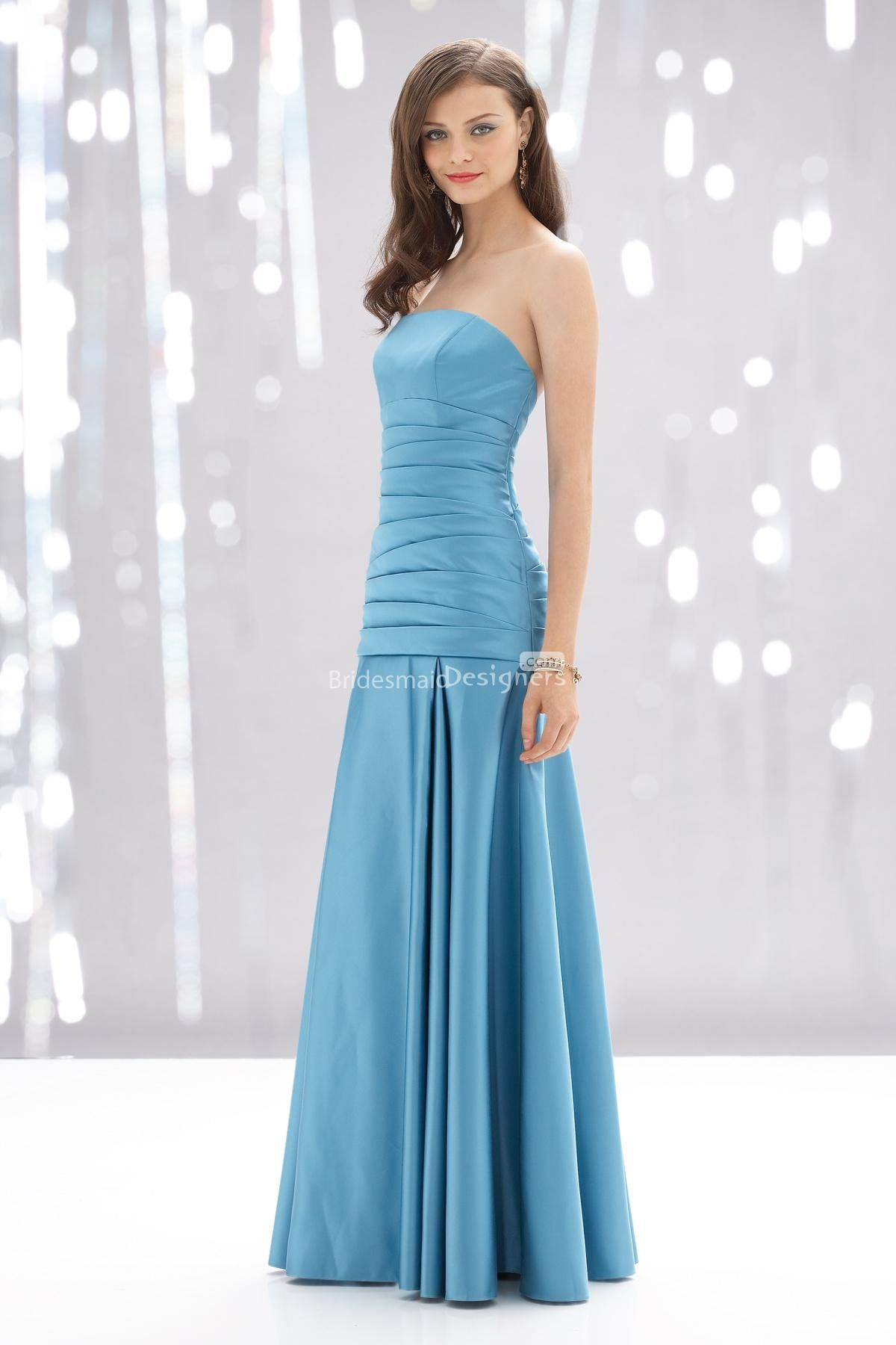 modest blue strapless pleated a-line long satin bridesmaid dress. US ...