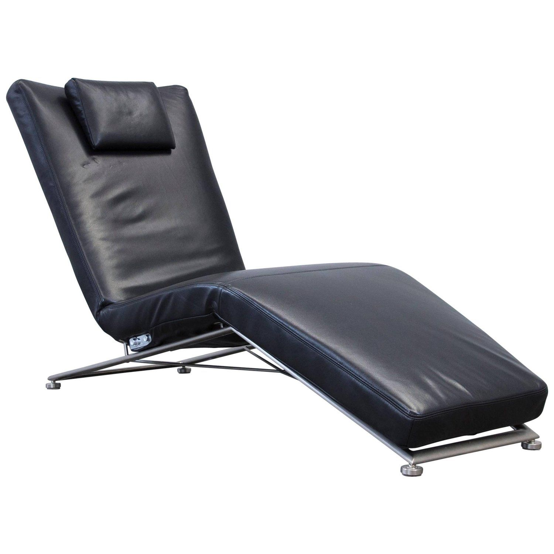 Koinor Designer Chaise Longue Leather Black Recamiere Chair  # Muebles Sedutti