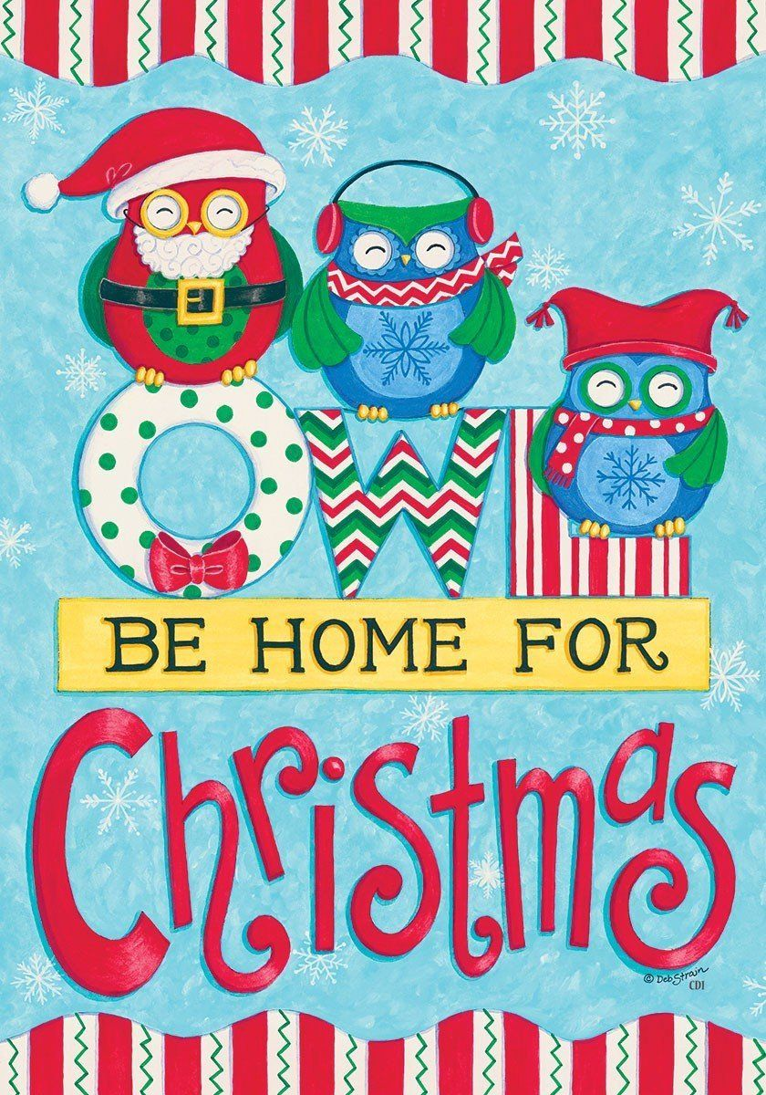 owl be home for christmas u0027 winter christmas themed double