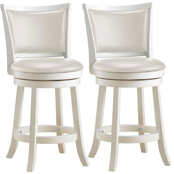 Copper Grove Vrlika White Counter Barstools With Leatherette Seats