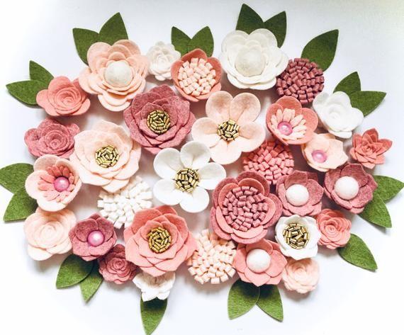Hand made peach/ivory/dusky&antique pink felt flowers/rose. Felt flower crown, flower headband, flower garland, baby headband, nursery decor