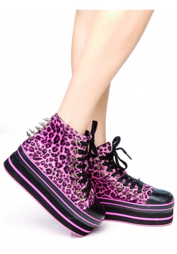 yru pink leopard sneakers with spikes