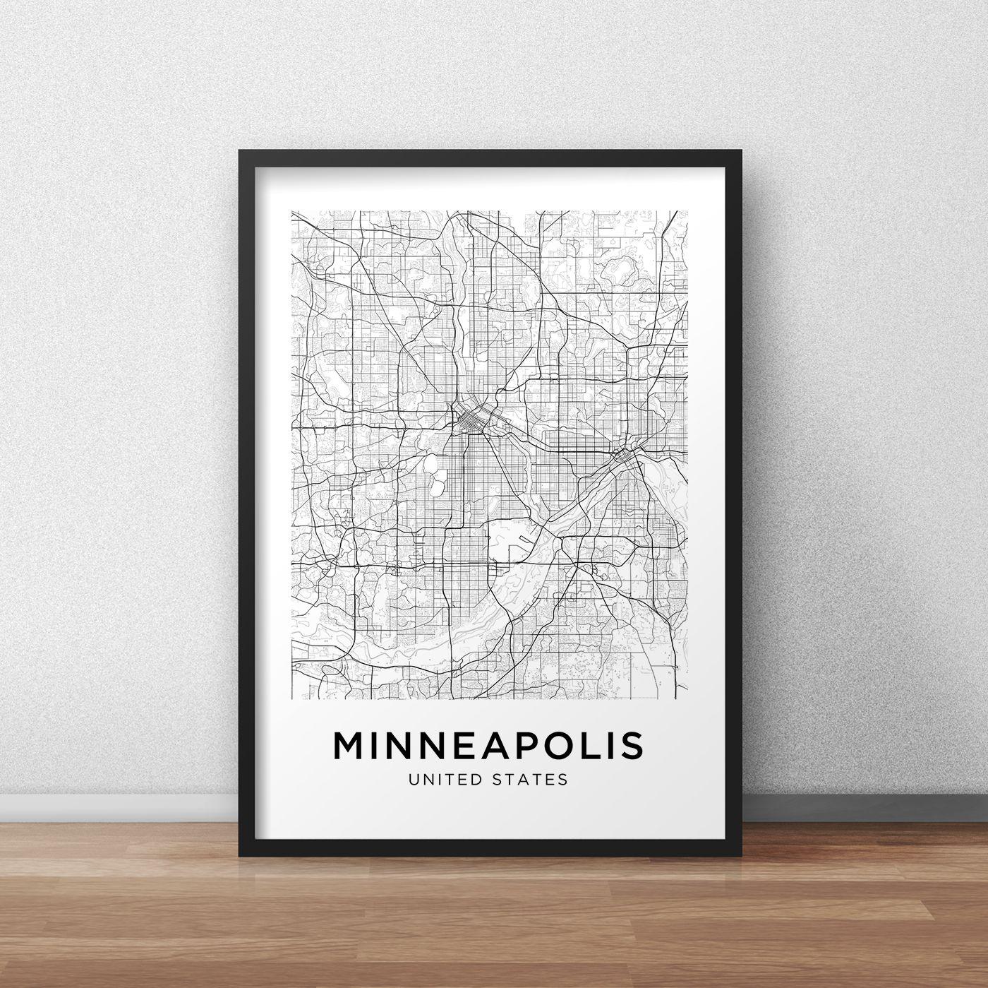 Minneapolis Map Print Minneapolis Map Download City Map Etsy Minneapolis Map Map Print City Map