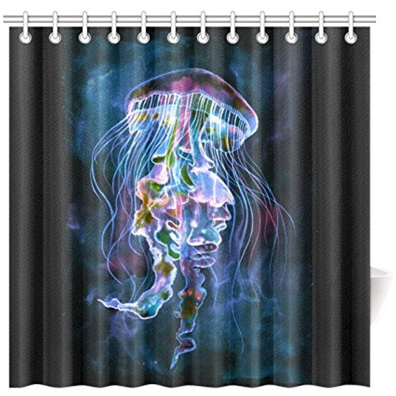Interestprint Home Bathroom Decor Watercolor Jellyfish Underwater