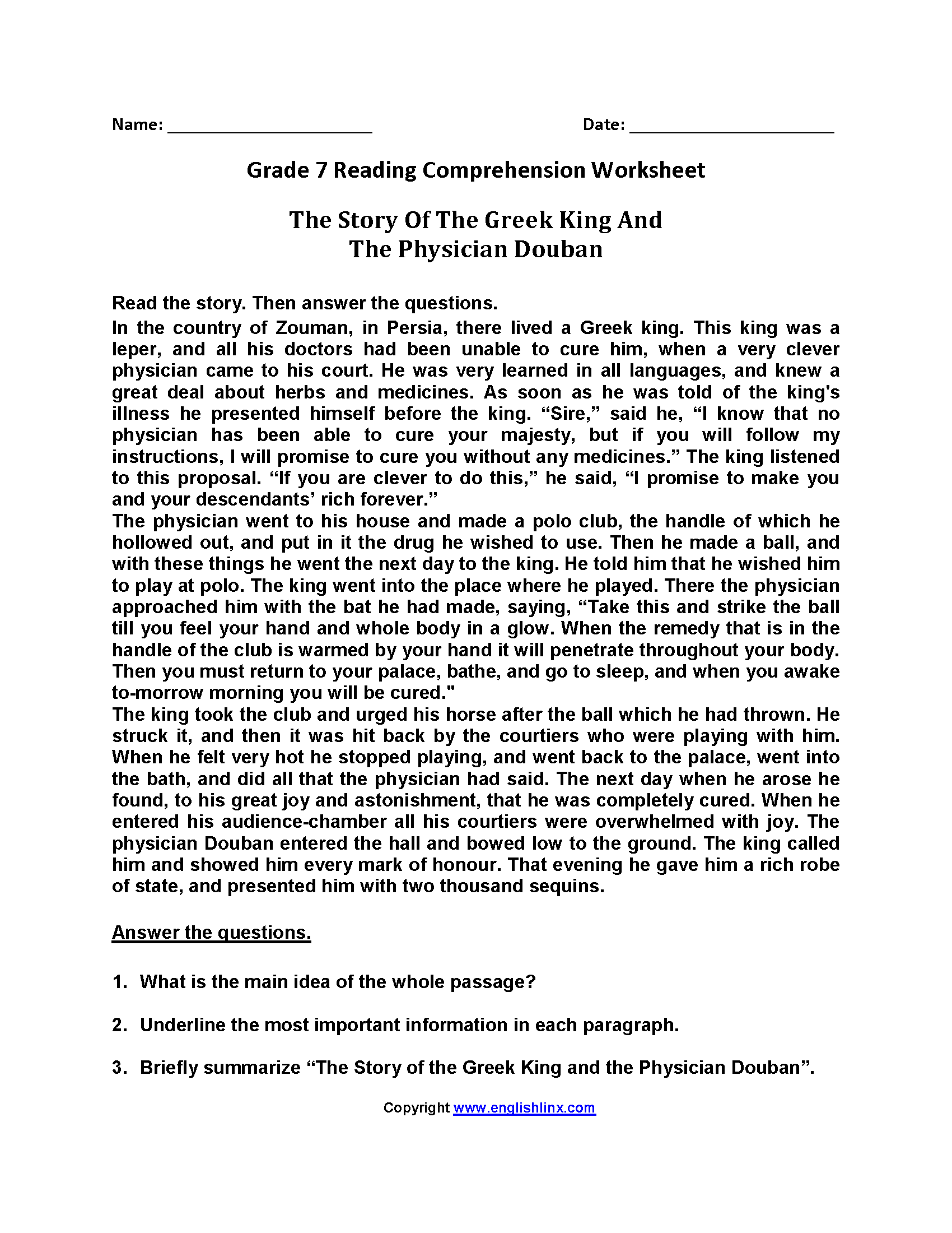 - Story Of The Greek KingSeventh Grade Reading Worksheets (With