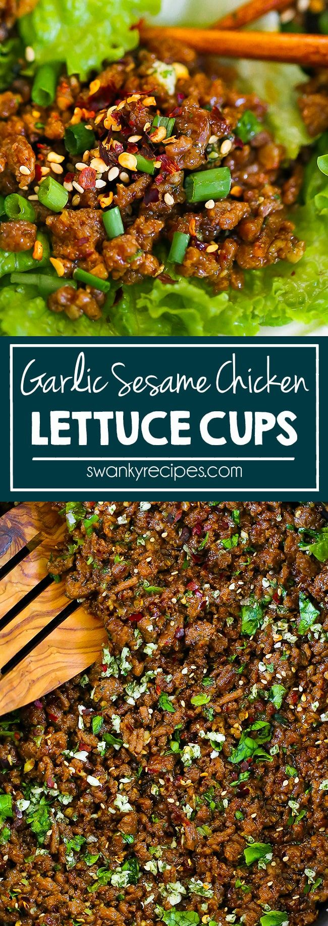 Garlic Sesame Chicken Lettuce Wraps