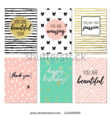 Set of 6 fashion design printable greeting cards stock vector printable stock vectors images vector art greeting card illustrationsillustrations m4hsunfo