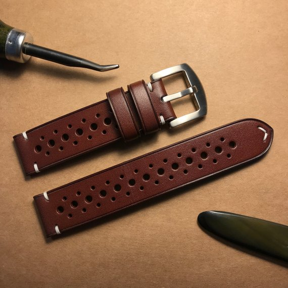 9a75736a8 Whiskey Classic Vintage Rally Racing Watch Strap, Handmade Watch Strap, Leather  Watch Strap 20mm, 22