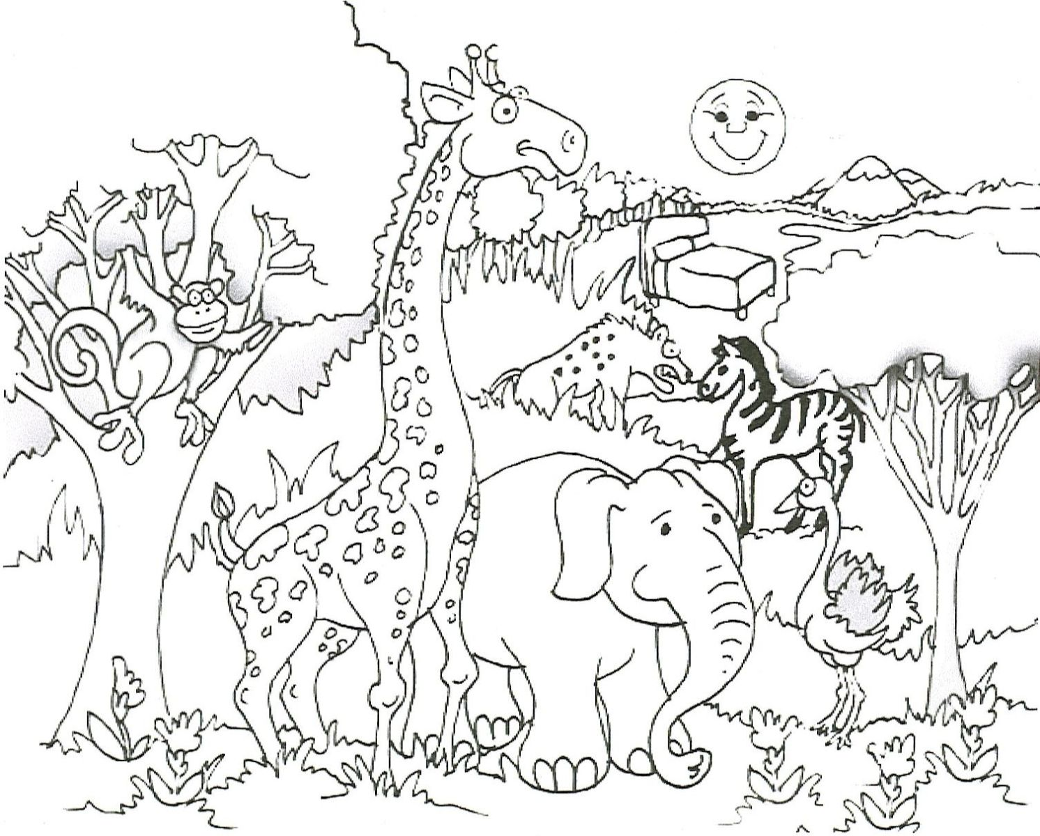 African Animal Coloring Page 01 Zoo Coloring Pages Zoo Animal Coloring Pages Giraffe Coloring Pages