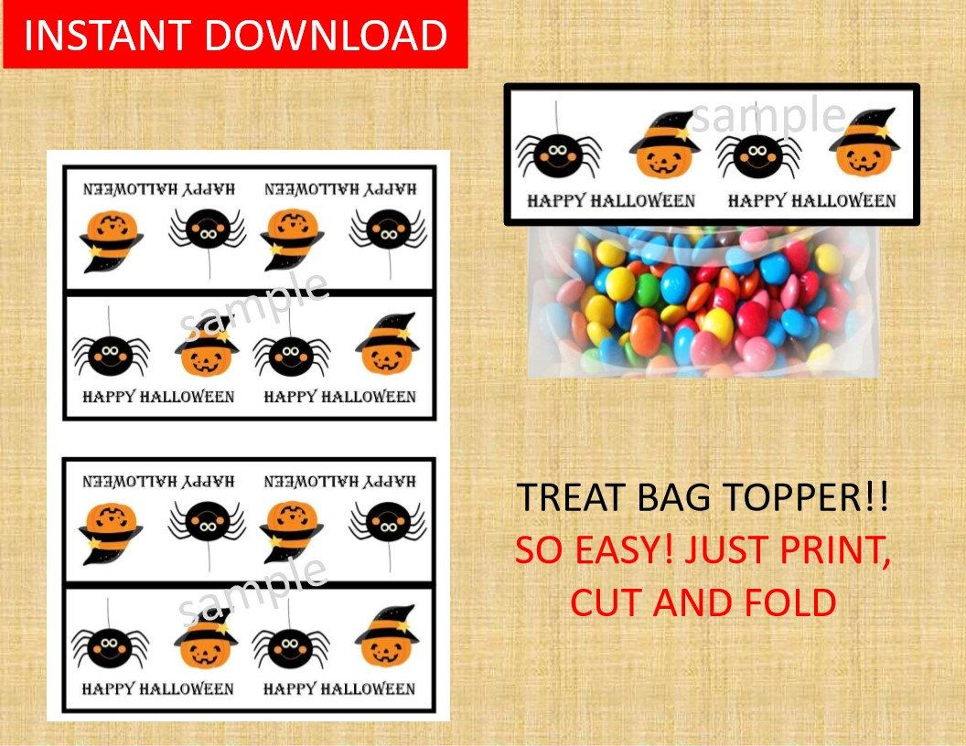Halloween Bag Toppers Instant Download Printable Favor