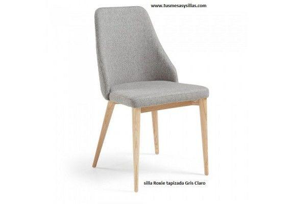 Silla moderna tapizada de estilo nordico Roxie patas en madera ...