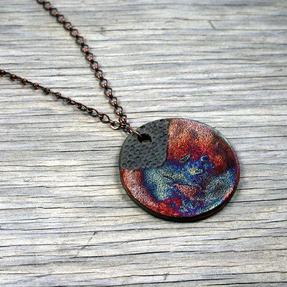 Raku ceramic pendant