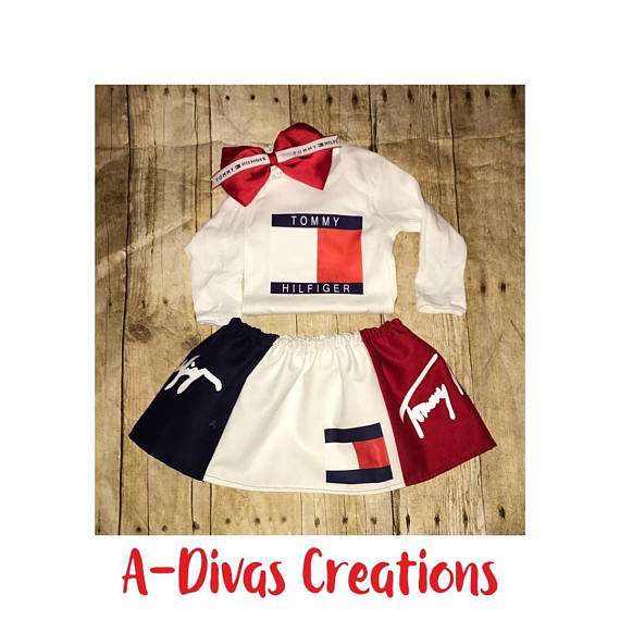 060f6ce8c Baby Tommy Hilfiger Inspired Skirt Set. Tommy Hilfiger. Designer inspired.  Custom Baby outfits. Cust