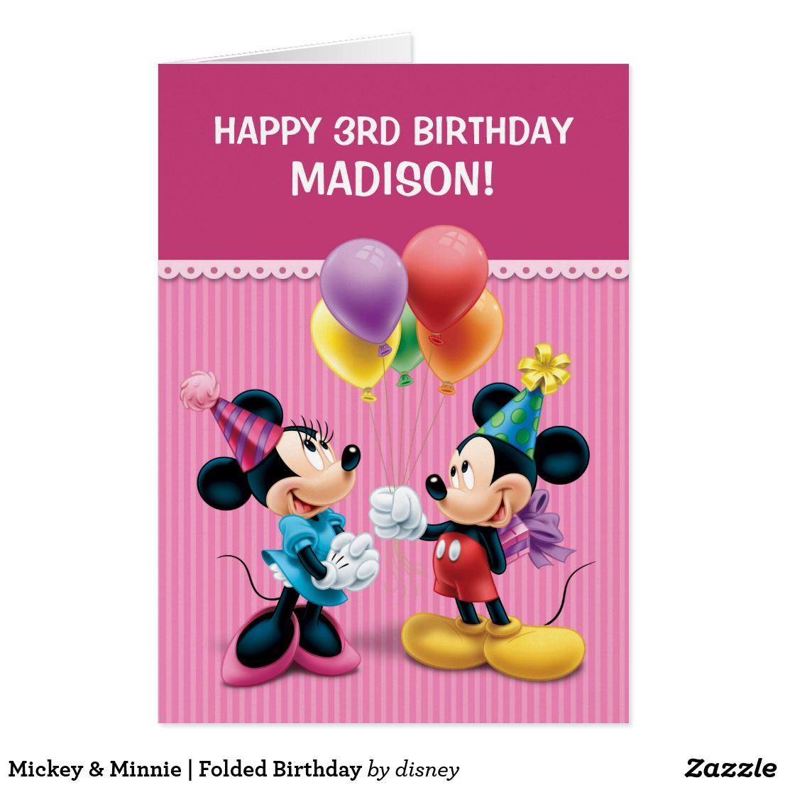 Mickey minnie folded birthday card childrens birthday party perfect birthday invitations for a mickey minnie themed birthday party these are folded birthday filmwisefo