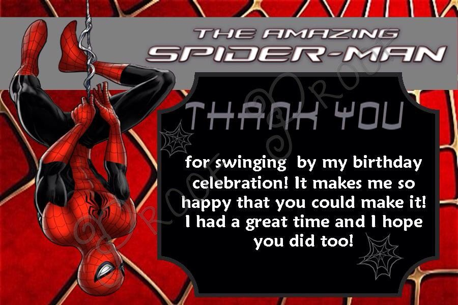 Spiderman Thank You Cards Inst Download Spiderman Thank You Card