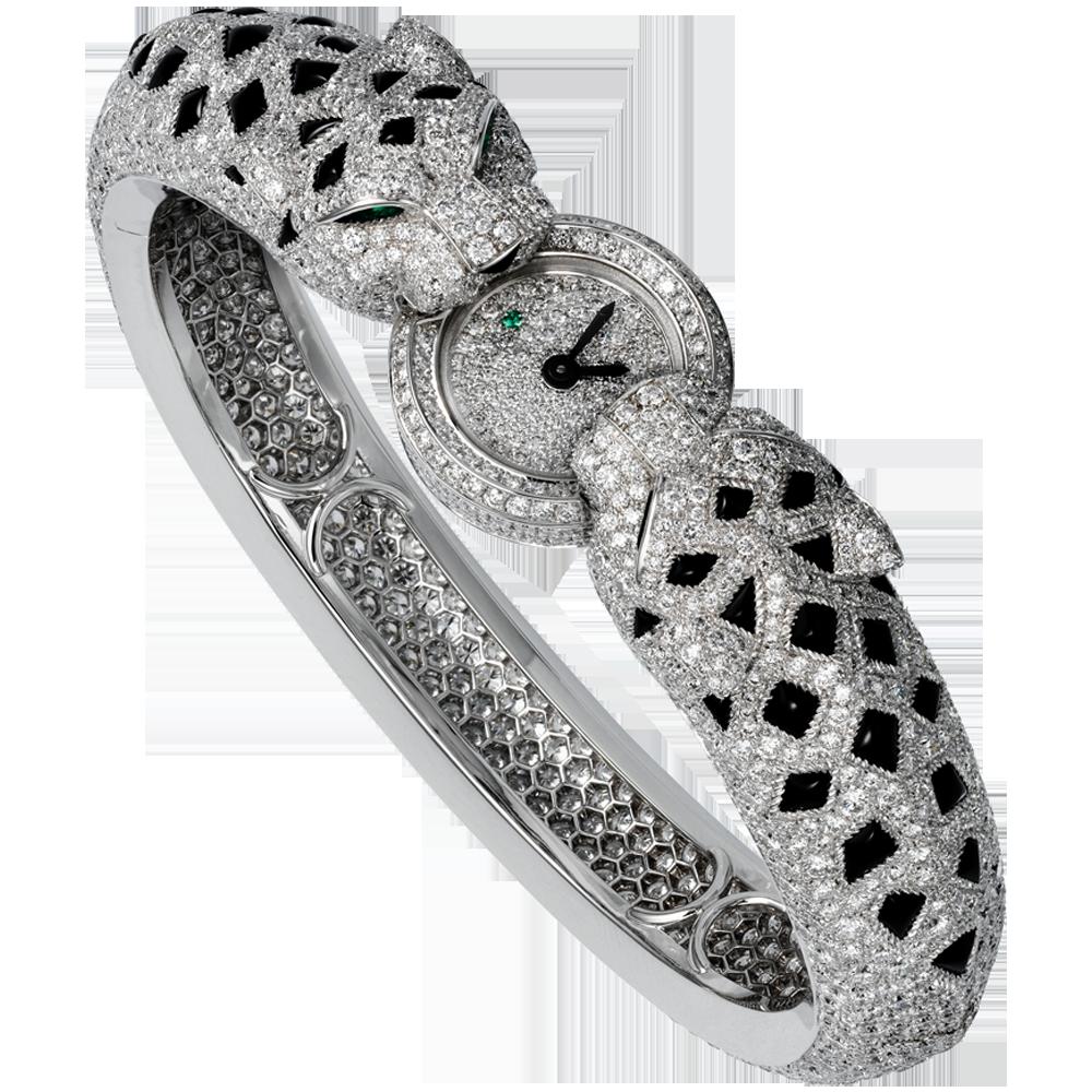 Motiv-Uhr mit zwei Leopardenköpfen