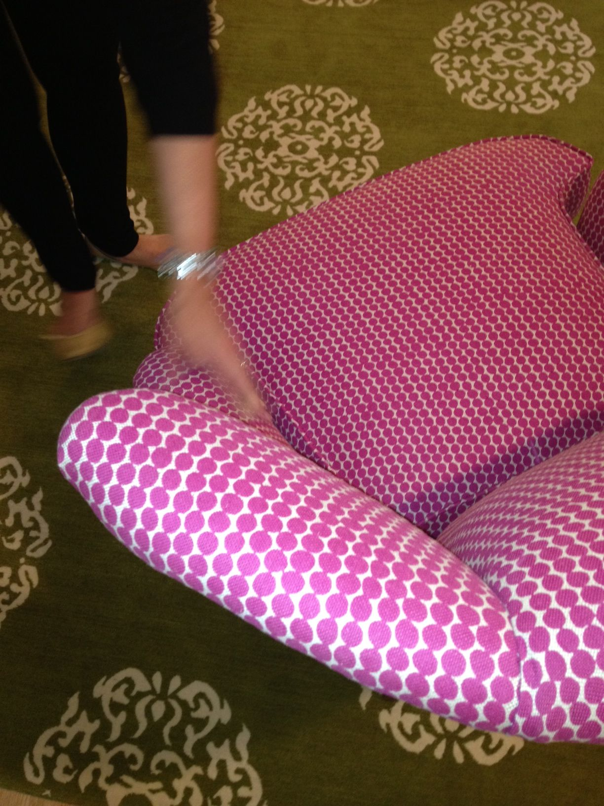 Here S The Sweet Hable Magenta Beads Wing Back At Home We Love It Paired With This Madeline Weinrib Olive Green Area Rug Madeline Weinrib Green Area Rugs Rugs
