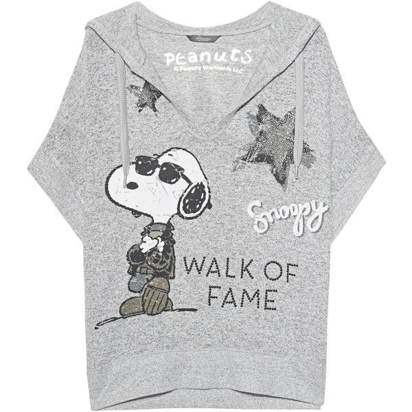 Princess Goes Hollywood Snoopy Walk Of Fame Grey Short Hoodie With 145 Liked On Polyvore Featu Short Hoodie Patterned Hoodies Grey Hooded Sweatshirt