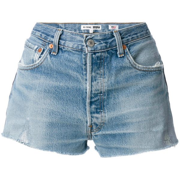 Re/Done denim shorts ($292) ❤ liked on Polyvore featuring shorts ...