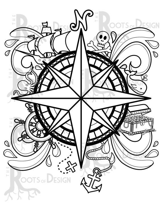 Instant Download Coloring Page Pirate Compass Design Doodle Etsy Coloring Pages Pirate Compass Geometric Printable