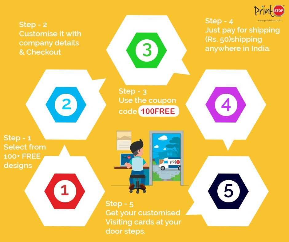 Free visiting cards avail 100 freevisitingcards from printstop in just five simple steps startupindia reheart Choice Image
