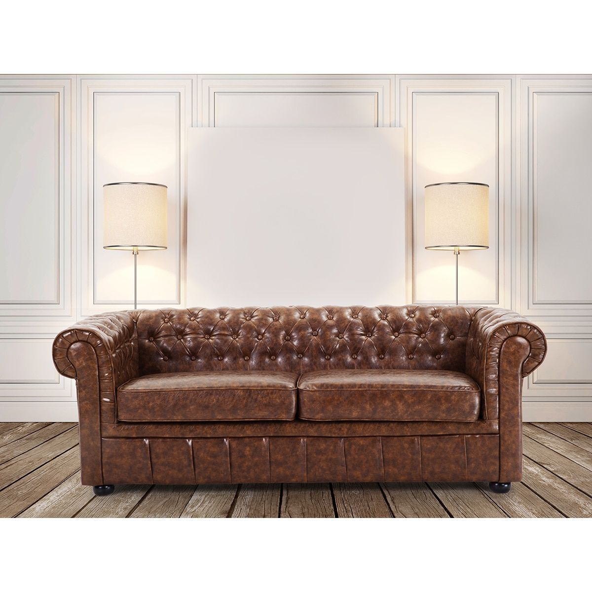 Great Velago Quilted Leather Sofa  Chesterfield By Beliani
