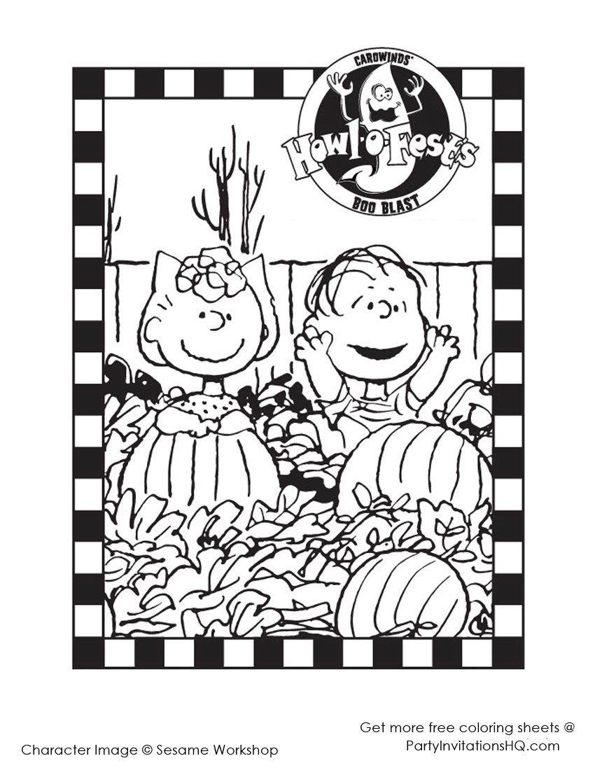 charlie brown peanuts halloween coloring pages